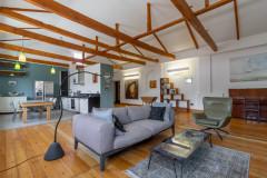 იყიდება! ტაბიძის ქუჩაზე,160კვ.მ. 3 ოთახიანი გარემონტებული ბინა ! არასტანდარტული კონცეფციით გაკეთებული ლოფტის ტიპის გამჭოლი ბინა. ბინაში არის ორი საძინებელი,დიდი მისაღები ოთახი,ორი საპირფარეშო,ბუხარი,საგარდერობო ოთახი. ბუნებრივი ხის იატაკი, იტალიური კაფელი და გრანიტი სამზარეულოში, მარმარილოს ორივე აბაზანაში, ბუნებრივი ქვისგან დამზადებული ბუხარი.ბინა იყიდება როგორც ავეჯით ასევე უავეჯოთაც.მდებარეობს მეოთხე სართულზე, არის გამჭოლი ტიპის ,ოთახები არის ნათელი,დიდი,მყუდრო,ფანჯრები ხმაურის იზოლაციით და საუკეთესო ხარისხის რემონტით.მდებარეობს  ტაბიძის დასაწყისში,აქვს აივანი და ლამაზი ხედები მთელს თბილისზე!  For sale! On Tabidze str, 160 sq.m. 3 roomed renovated apartment! A spacious, open-concept renovated loft in a landmark building.There are two bedrooms, a large living room, two bathrooms, a fireplace, a wardrobe room.The apartment is for sale as well as with or without furniture. Located on the fourth floor, the rooms are bright, large, cozy, windows has noise isolation and excellent quality of renovation. Wooden beams, natural wood floors, Italian tile and granite countertop in the kitchen, marble in both bathrooms, a working fireplace made from natural stone, plus a balcony overlooking quiet Tabidze Street and with beautiful views all over Tbilisi!   На ул. Табидзе, 160 кв.м. 3 комнатная квартира с ремонтом! Есть две спальни, большая гостиная, две ванные комнаты, камин, гардеробная комната. Квартира продается как с мебелью, так и без. Расположена на четвертом этаже, комнаты светлые, большие, уютные, окна имеют шумоизоляцию и отличное качество ремонта. Просторный отремонтированный лофт открытой планировки в историческом здании. Деревянные балки, полы из натурального дерева, итальянская плитка и гранитная столешница на кухне, мрамор в обеих ванных комнатах, рабочий камин из натурального камня, а также балкон с видом на тихую улицу Табидзе и на весь Тбилиси!
