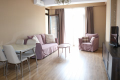 Newly renovated studio type apartment for rent on Vera, Gogebashvili str, 2 bedrooms. The apartment has balconies and very beautiful views on Mtatsminda.  environmentally clean air.