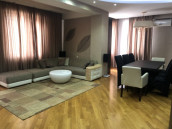 For rent, 5 room apartment, with 3 bedrooms, closet, 2 bathrooms, isolated kitchen, storeroom - laundry, verandah type balconies, fully equipped furniture and techniques, dishwasher, air-conditioner and e.c.t In Vake area, on Paliashvili Street. The apartment owns a garage (private parking space)