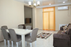 For rent in Saburtalo, 3 bedroom newly renovated 2 bedroom apartment. The apartment is provided with all necessary furniture and appliances;